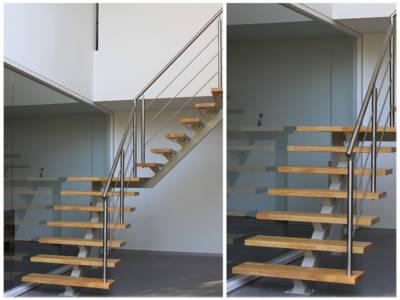 50. trappen met stalen bordestrap & onderboom treden met rubberwood